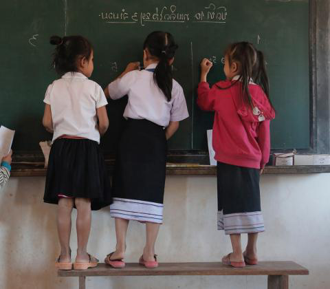Group work helps students to learn from each other. This is one of the techniques teachers are being taught from Pedagogical Advisors to improve quality education at Phonkeo Primary School, Saravane Province Lao PDR.