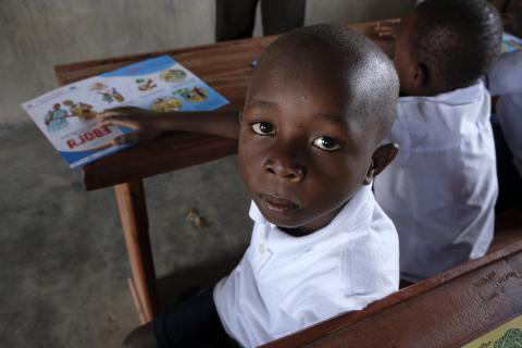 Democratic Republic of Congo. A child attends school in the Ndindi neighbourhod of Beni.