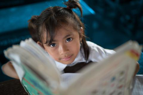A young girl looks up at the camera as she reads a book in school.